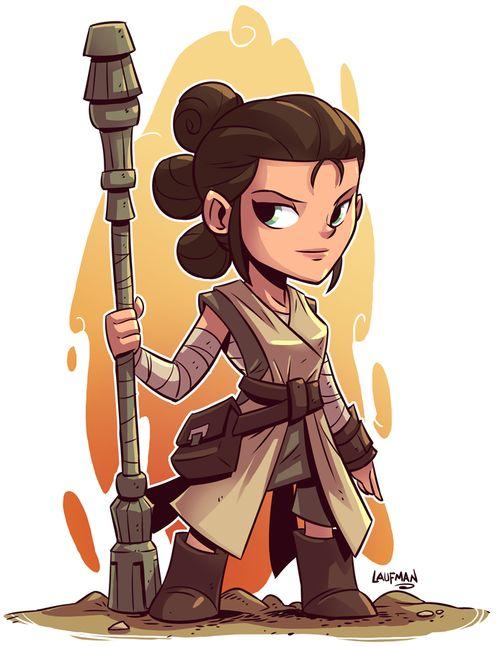 รูปการ์ตูน Rey เวอร์ชั่นน่ารักๆ ถือไม้กระบอง ตัวการ์ตูนจากภาพยนตร์ Star Wars