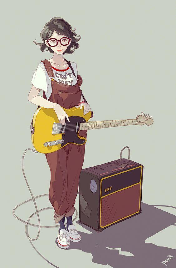 รูปการ์ตูนผู้หญิง การ์ตูนผู้หญิงเล่นกีต้าร์เท่ๆ ใส่ชุดเอี้ยมเฟี้ยวๆ สไตล์อาร์ตๆ